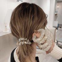 Mulheres ouro prata elástico plástico de borracha de borracha cordão torcer pérola telefone fio linha cabelo laços banda anel de cabelo