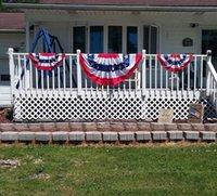 새로운 도매 3 * 6 피트 주름진 미국 국기 장식 플래그 스커트 배너 90 * 180cm 독립 기념일 미국 팬 모양의 플래그 EWF5476