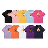 Drew Camisa Básica para Homens e Mulheres Casal Tees T-shirt Versão Smiley Versão Star Star Manga Curta Moda Design Indicada T-shirt Tops 10 Cores