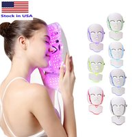 Stock USA 7 Color LED light Therapy face Beauty Machine Facial Neck Mask With Microcurrent for skin whitening device