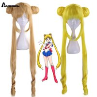 Perruques Anogol Marque Sailor Moon Tsukino Usagi Long Blond Blond Blond Blond Star Star Star Synthetic Cosplay perruque pour Fille Costume Party