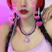 Pendant Necklaces Lovely Y2K Moon Aesthetic Pink Bell Necklace Vintage Double Layer Cool Egirl Harajuku Purple Jewelry For Bar