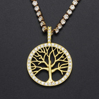 Pendant Necklaces 7BEADS Iced Out Rainbow Rhinestone Tree Of Life Necklace Wholesale Fashion Family Jewelry