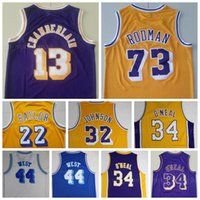 Erkekler Vintage Basketbol Dennis Rodman Jersey 73 Wilt Chamberlain 13 Jerry West 44 Elgin Baylor 22 Mor Sarı Beyaz Tüm Dikişli