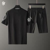 Crosin Fashion brand T-shirt suit light luxury personality leisure men's slim round neck cross hot drill short