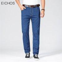 Yaz Erkek Kot Düz Fit Pamuk Elastik Normal Mavi Siyah 2021 İş Rahat Denim Pantolon Erkekler Için