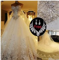 2021 Long Sparkly Crystal Lace Ball Gown Luxury with Tulle C...