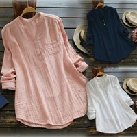Women's Blouses & Shirts Kayotuas Women Blouse Plus Size Summer Solid V-Neck Loose Tops Button Long Sleeve Blue Pink White Streetwear