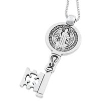 St Benedict Medal Cross Smqlivb Key Religious Pendant Necklaces 24 inches Antique Silver Carabiner Christopher Chains N1684 25x59mm 20pcs lot
