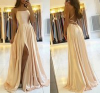 Sexy Spaghetti Straps Bridesmaid Dresses Long 2021 Elegant Satin Lace-up Back Floor Length Maid Of Honor Gowns Side Slit Formal Wedding Guest Party Dress AL9304