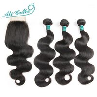 Ali Grace Hair 3 Bundles Brazilian Body Wave With Closure 4*4 Free Part 4pcs lot Remy Human Extension Natural Color1