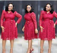 Günlük Elbiseler HGTE Hırka Ince Bel Bir Kelime Elbise Ofis Personel kadın Uzun Kollu Yaka Dantel Dört Renk Yağ Büyük Boy 3XL 4XL