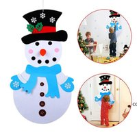 DIY Felt Christmas Snowman Hanging Ornaments New Year Door Artificial Wall Hang Decoration Xmas Kids Gifts Accessories DHF10472