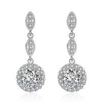 Clip-on & Screw Back Fashion No Pierced Drop Water Clip Earrings Jewelry Silver Color Zirconia Crystal Jackets Cuff For Women Ear