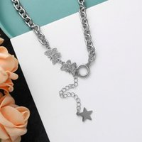Pendant Necklaces U-Magical Textured Star Butterfly Stainless Steel Rhinestone Necklace For Women Toggle Clasp Chain Jewelry