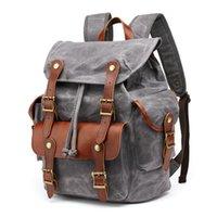 Luxury Vintage Laptop Backpacks For Men Oil Wax Canvas Rucksack Male Travel Bag Backpack Large Waterproof Daypacks Retro Bagpack