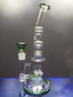 Green bong dab rig hookahs gridded inline perc recycle oil pipes bongs with 18.8 mm joint heady glass for smoking dhping
