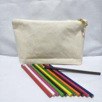 Sacchetto di matita in tela di cotone naturale in bianco 40pcs / lot con una borsa cosmetica di tela sfoderata a tassello