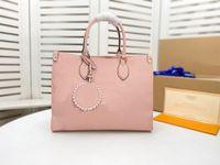 고품질 패션 luxurys 디자이너 가방 onthego 중간 토트 여성 핸드백 풀 모노그램 엠보싱 어깨 가방