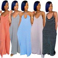 Летнее платье Maix Платья без рукавов Scoop шеи полосатая печать Свободная повседневная подвеска Skirtvest Tshirt Plus Размеры / м / л / XL / 2XL