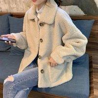 Women's Fur & Faux Lucyever Autumn Winter Lamb Wool Coat Women Korean Turndown Collar Teddy Overcoat Female Harajuku Warm Jackets Outwear