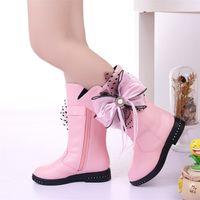 Stivali invernali per bambini per ragazze Fiore Fiore Fashion Peluche Principessa Appartamenti Dress Scarpe Black Red Snow Boot KS544 210914