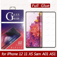 Full glue Cover Tempered Glass 3D Screen Protector for iPhone 12 11 pro Max XS XR Samsung A21 A11 A01 A51 Black edge IN RETAIL BOX
