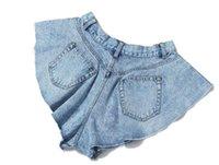 Casuales Ruffles Denim Faldas Mujeres Cintura Alta Limita Pantalones Amplios Pantalones Amplios Piernas Moda Ropa de verano