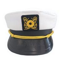 Chapeau bleu marine brodé blanc Fun Top Plat Haut Militaire Sailor Hator