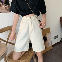 Zipper Fly Straight Leisure Chic Women Short Denim Trousers Simple Plain Elegant Gentle All Match Stylish Harajuku Cool