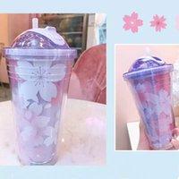 Tassen Untertassen Sakura BPA freier Kunststoff mit Deckel und Strohwasserflasche zum Trinken von Kaffeetassen Saft Milchbecher verstecktes Eis