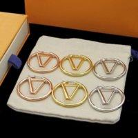 2021 Gold Hoop Dangle Boucles d'oreilles pour Lady Femmes Party Mariage Amoureux des cadeaux Engagement Bijoux