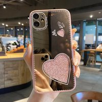 Милое зеркало сердца дама составляют телефон для iPhone 12 mini 11 xr xs pro max 67 8 плюс сотовый телефон