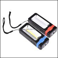 Tragbare und Wandern Sport OutdoorsPortable Laternen Laideyi 2 Modi COB Fackel USB Wiederaufladbare LED Solararbeitsleuchte Mini Lanterna Lampe FO