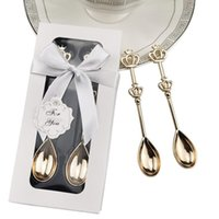 Party Favor Baby Showers 20sets lot Crown Coffee Spoon In Gold And Silver Color Wedding Favors
