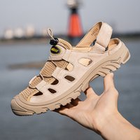 2021mens iş sandalet deri erkek terlik erkek yaz ayakkabı nefes plaj açık yumuşak soledlack spor yürüyüş
