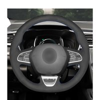 Hand-stitched Black Suede Steering Wheel Cover for Renault Megane 4 Grand Scenic Kadjar Koleos Talisman Espace QM6