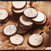 Greeting Cards Christmas Ornaments Diy Small Wood Discs Circles Painting Round Pine Slices W Hole Jutes Party Supplies 6Cm7 Cm Eea756 Alres