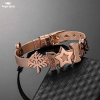 Tennis Rose Gold Keeper Bracelets Jewelry Stainless Steel Diy Stars Trees Slide Charms For Accessory