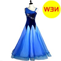 Ballroom Waltz Dresses Sale Ballroom Competition Dress Tango Dance Costumes Outfits Velvet D0178 Rhinestones Big Sheer Hem