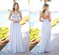 Silver Pays Rustic 2021 robes de demoiselle d'honneur bon marché sans manches ouvertes arrière-plan du sol