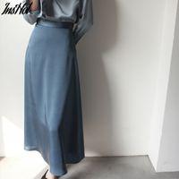 Women's Skirt Korean Style A-line Satin Blue Black High Waist Ankle Length Woman Skirts Mujer faldas Femme Jupes Saias Mulher 210514