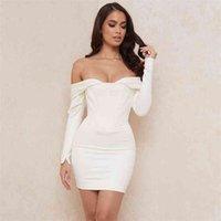 White Sexy Dress Long Sleeve Bodycon Wrap High Waist Bandage Summer Party Club Midi Women Clothes 210515