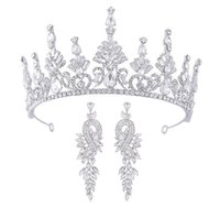 Fashion bridal wedding headpieces High-end crown white crystal Baroque palace style Party banquet dress accessories Gift earrings Birthday lover wife Christmas