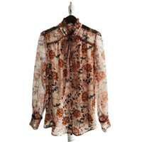 Womens Tops And Blouses Floral 2021 Spring Summer Stand Collar Bow Long Sleeves Single Breasted Shirt Female S-XL Women's & Shirts
