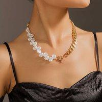 Collar de gargantilla de perla de imitación plana irregular Punk Miami Curb Cuba Cadena de palanca Claza Lajuela Collar de clavícula para mujer Joyería Q0610