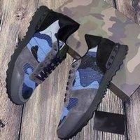 Mens RockRunner SCARPE MAMOUFLAGGIO Fashion Designer di lusso Sneakers Genuine Pelle Stud Stud Rivetto Sneaker Bottoms Top Quality Flats Casual Trainer 264