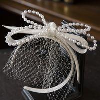 Headpieces French Elegant Retro hairband Luxury Pearl Satin Bow Veil Headband Bridal Headdress Wedding hair Accessories