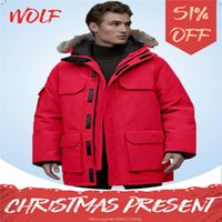 2021 Hombres de invierno Wemen Canadá Baja Chaqueta de calidad superior para hombre Winter Wolf Fur Viajes Parka Down Chaqueta Largo Puffer Ganso Abrigos Cálido abrigo