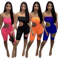 2021 Summer Womens Tuta Designer Una spalla Colore solido Versatile Casuals Casuals Colour Color Colour Coloring Snowing Sweay Shorts Hole Pagliaccetti